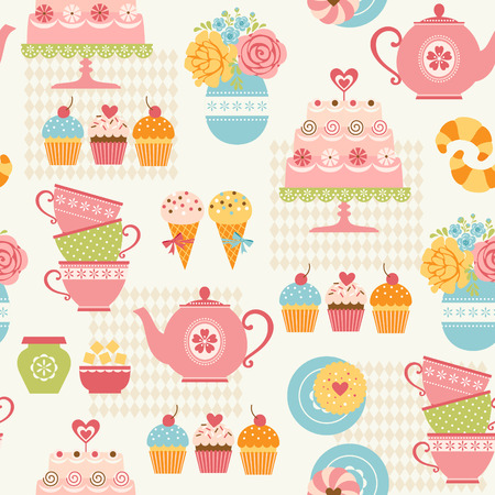 Tea time seamless pattern with sweets and tea things.