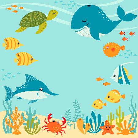 tortuga caricatura: Dise�o bajo el agua lindo con lugar para el texto. Vectores