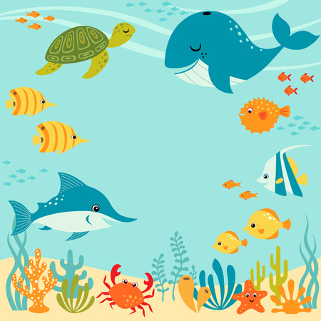 Cute underwater design with place for your text.