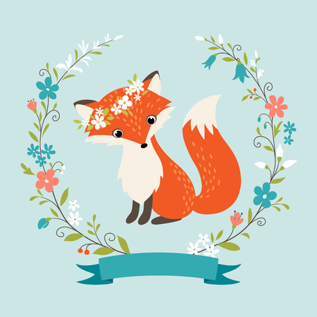 Cute summer fox,  flower wreath and ribbon.