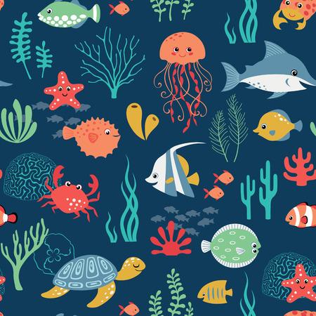 Seamless cute underwater pattern on dark blue background. Vector