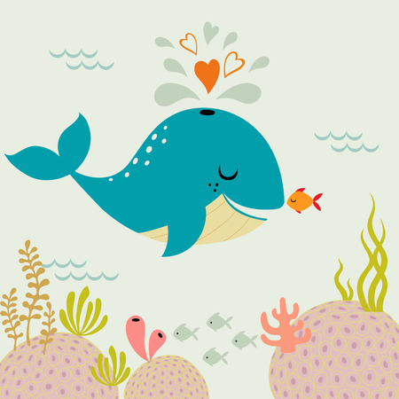 Cute romance whale and little goldfish in love. Vector image is cropped with Clipping Mask.