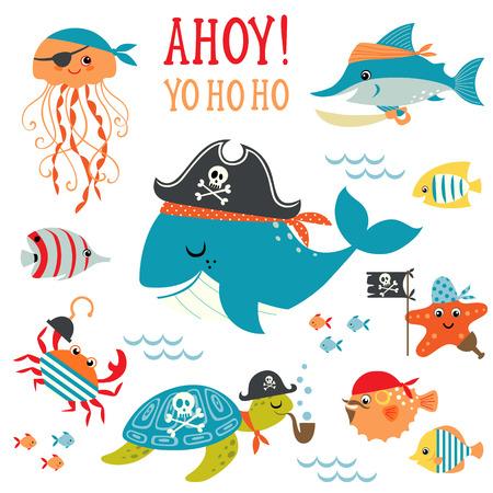 peces caricatura: Conjunto de elementos de diseño de submarinos lindo pirata.