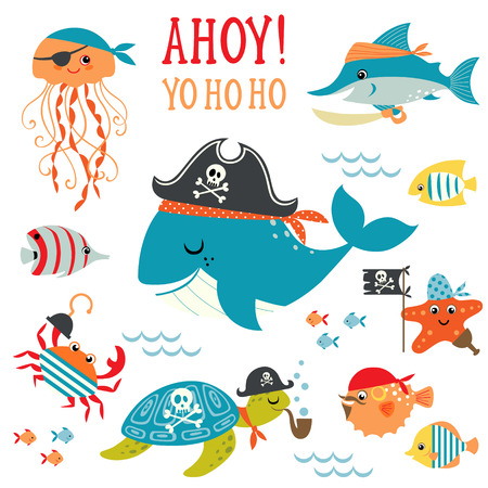 ahoy: Set of cute undersea pirate design elements.