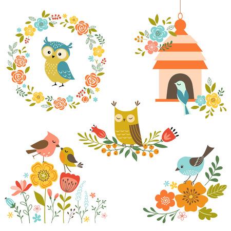 pajaro caricatura: Conjunto de elementos de diseño con flores y pájaros.