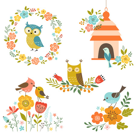 Set of design elements with flowers and birds. Ilustração