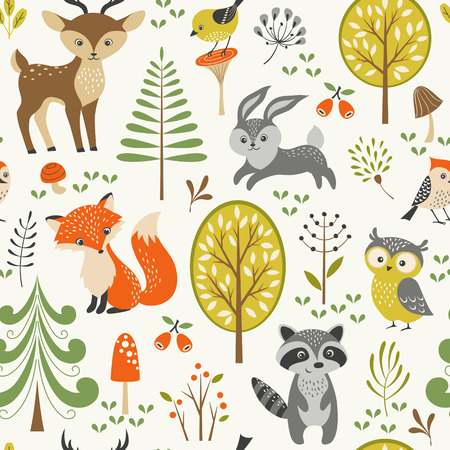 Seamless summer forest pattern with cute woodland animals, trees, mushrooms and berries.