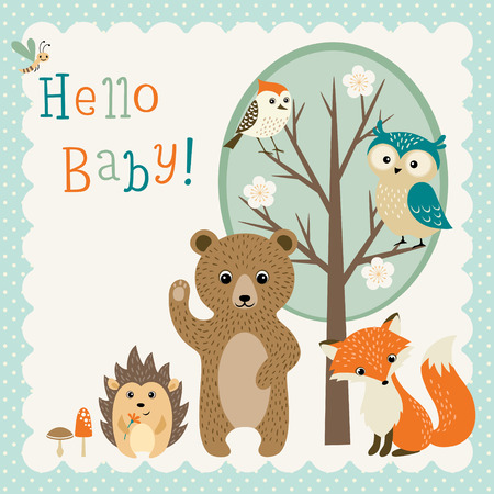 zorro: Diseño de la ducha de bebé con los animales lindos del bosque. Vectores