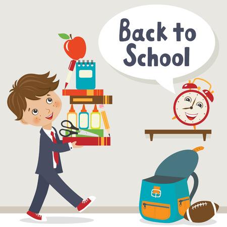 mochila escolar: Adolescente feliz que va a volver a la escuela.