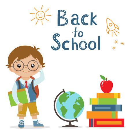 libro: Feliz pequeño colegial, globo y libros sobre fondo blanco para el regreso a la escuela de diseño Vectores