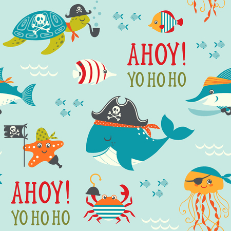 cangrejo caricatura: Modelo inconsútil con los piratas submarinos lindos.
