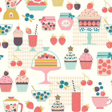 cake plate: Food seamless pattern with berry sweets Illustration