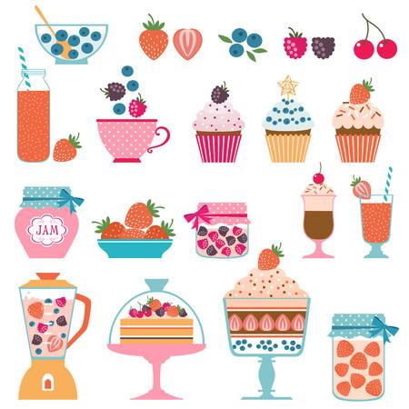 Set of berry sweets stuff