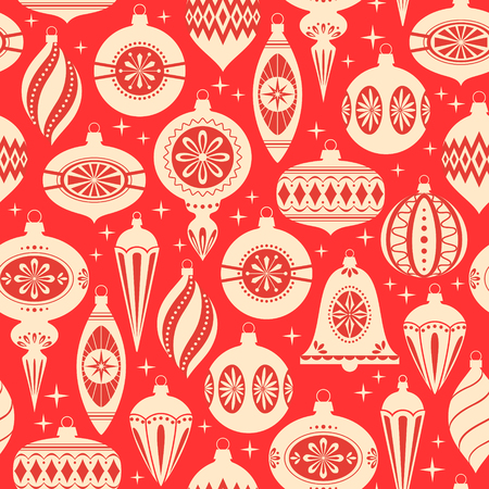 christmas seamless pattern: Red and gold Christmas seamless pattern Illustration