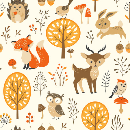 autumn trees: Autumn forest seamless pattern with cute animals