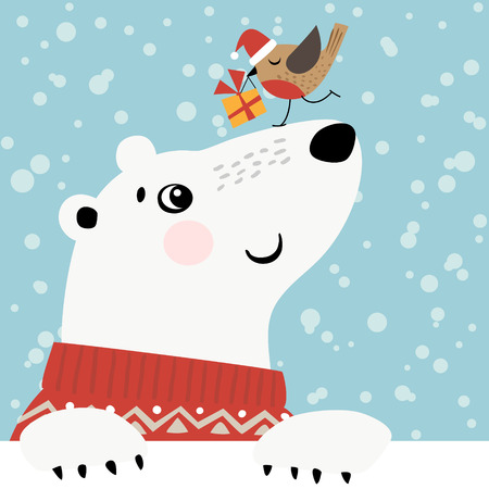 winter holiday: Christmas greeting card with polar bear and little bird.