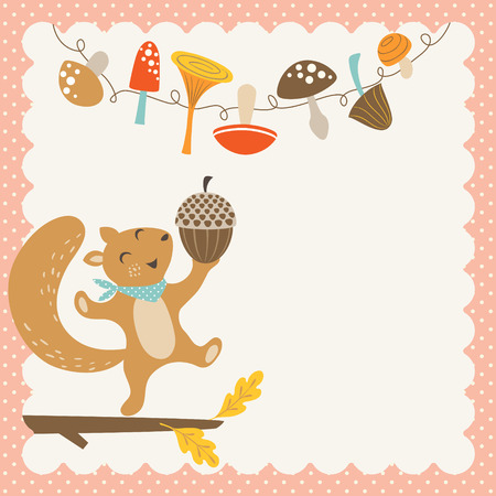 Happy squirrel with big acorn. Cute autumn or Thanksgiving card with place for your text.