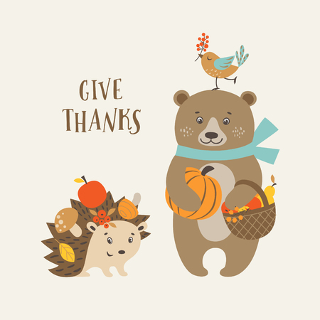 woodland: Cute Thanksgiving greeting card with happy bear, hedgehog and bird.