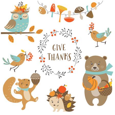 동물: 가을, 추수 감사절 디자인에 귀여운 숲 동물의 집합입니다.