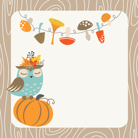 pumpkin leaves: Cute autumn card with owl, mushrooms, pumpkin and place for your text.