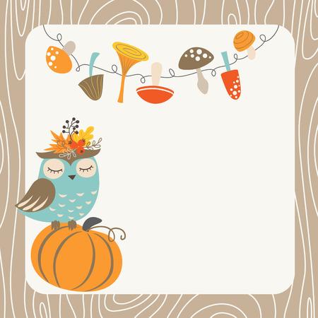 calabaza caricatura: Tarjeta de otoño lindo con el búho, setas, calabaza y lugar para el texto.