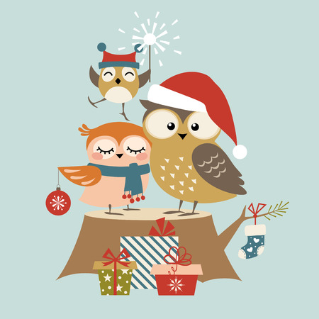 Christmas greeting card with cute owl family
