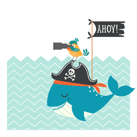 pirate cartoon: Funny pirate card with whale, parrot and copy space.