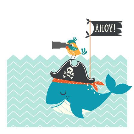 loro: Tarjeta pirata divertido con la ballena, el loro y el espacio de la copia.