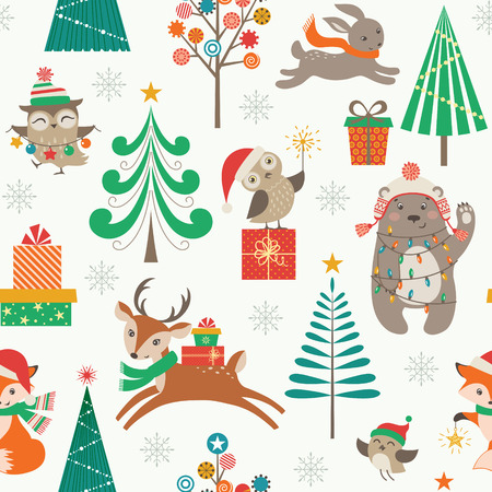 Cute Christmas pattern with woodland animals, Christmas trees and gifts