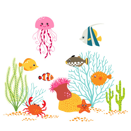 cangrejo: Diseño bajo el agua de dibujos animados sobre fondo blanco