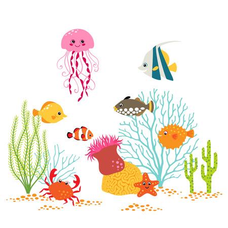 Cartoon underwater design on white background