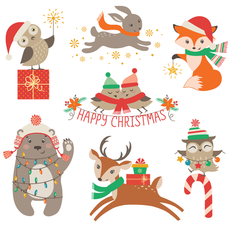 Set of cute Christmas design elements with woodland animals Çizim