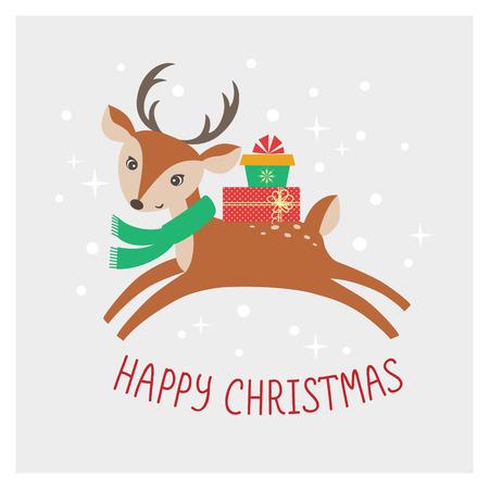boldog karácsonyt: Aranyos Boldog Karácsonyi kártya rajzfilm szarvas és ajándékok Illusztráció