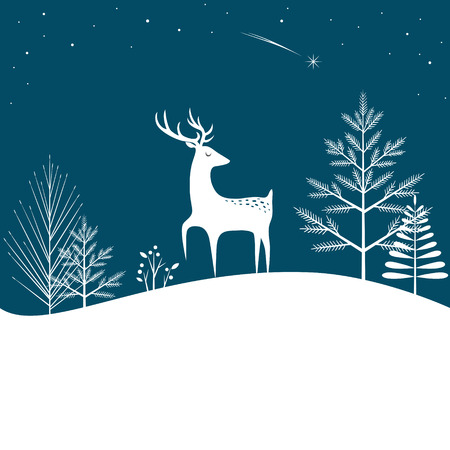 pine forest: Christmas forest background with deer and falling star Illustration