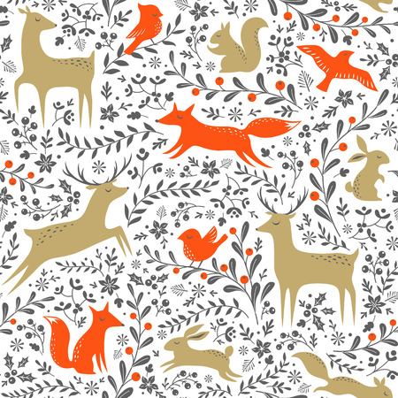 winter forest: Christmas floral woodland animals seamless pattern on white background