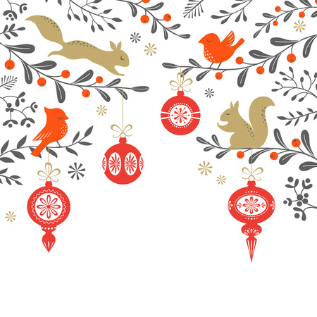 birds: Christmas floral background with birds, squirrel, ornaments and place for your text. Vector is cropped with Clipping Mask. Illustration