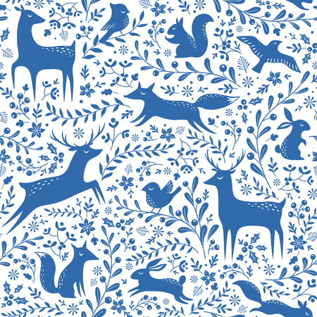 Blue and white seamless Christmas pattern with forest animals and floral elements.