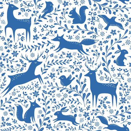 liebre: sin patrón de Navidad azul y blanco con los animales del bosque y los elementos florales.