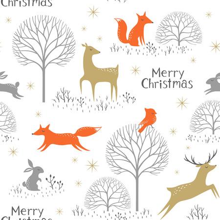 liebre: Navidad sin patrón con animales del bosque, los árboles y las estrellas del oro.