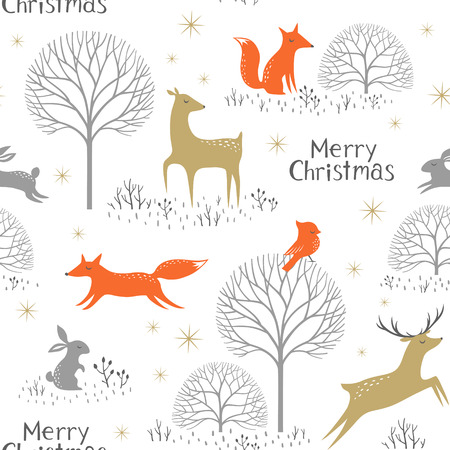 Christmas seamless pattern with woodland animals, trees and gold stars. Illustration