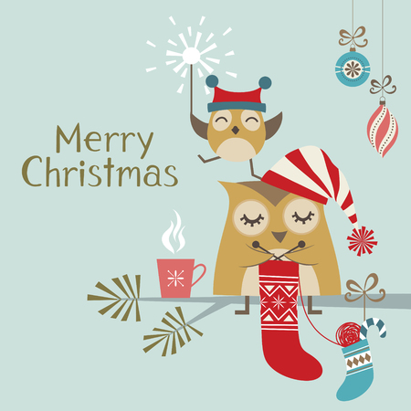 knitting: Christmas greeting card with cute owls Illustration