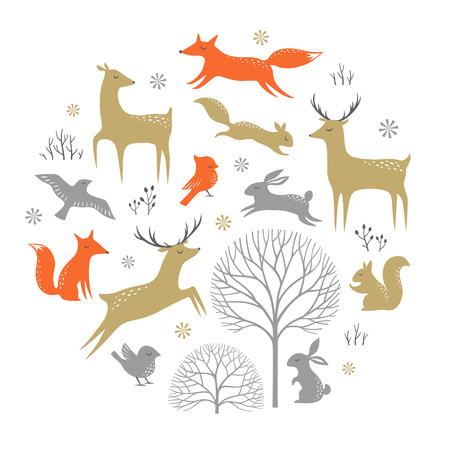 animales del bosque: Conjunto de elementos del invierno del arbolado para el diseño de Navidad