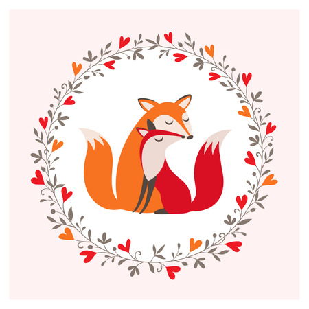 loving couple: Romantic card with loving couple of foxes.