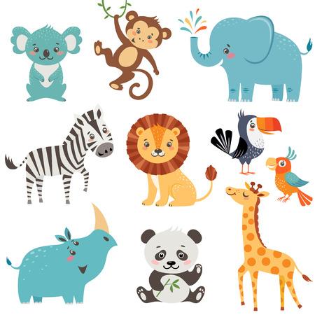 동물: 귀여운 동물의 집합 흰색 배경에 고립