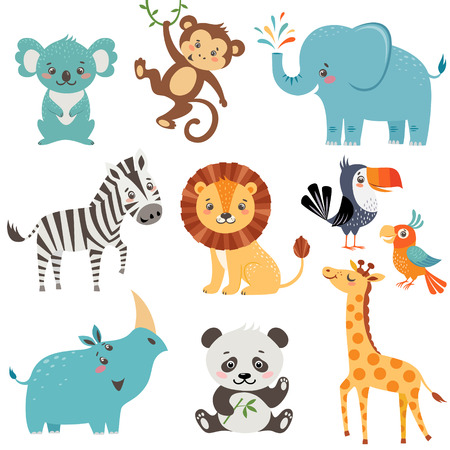 Set of cute animals isolated on white background Illustration
