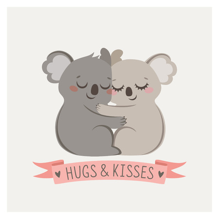 hugs and kisses: Cute card with loving couple of koalas Illustration