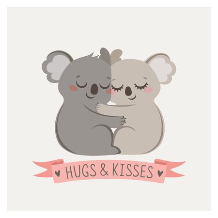 animales salvajes: Tarjeta linda con par de amante de los koalas