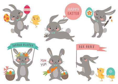 Set of cute Easter rabbits with Easter eggs and banners. Stock Illustratie