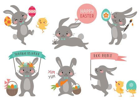 roztomilý: Sada Hezký velikonoční králíků s velikonoční vajíčka a transparenty. Ilustrace