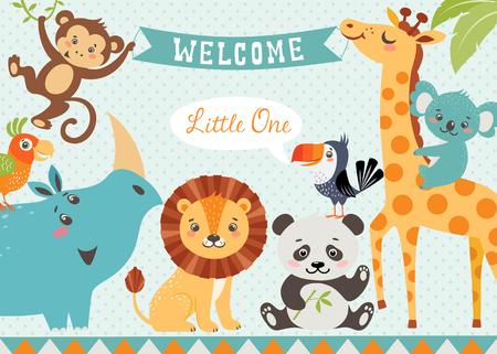 kisbabák: Baba zuhany kialakítás aranyos dzsungel állatok. Vektor lemarad a vágómaszkot.